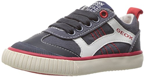 Geox Boys' Jr Kiwiboy 89 Slip-On, Navy/Red, 38 EU/5.5 M US Big Kid