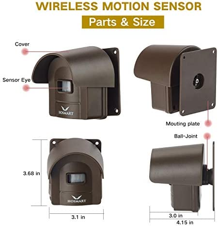 1/2 Mile Hosmart Rechargable Driveway Alarm Wireless Sensor System & Driveway Sensor Alert System Weatherproof Security Outdoor Motion Sensor & Detector(1 Receiver & 4 Sensors)