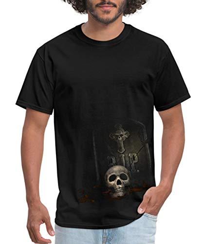 Rip Out Skull T-shirt - Spreadshirt Halloween Skull Tombstone Men's T-Shirt, 6XL, Black