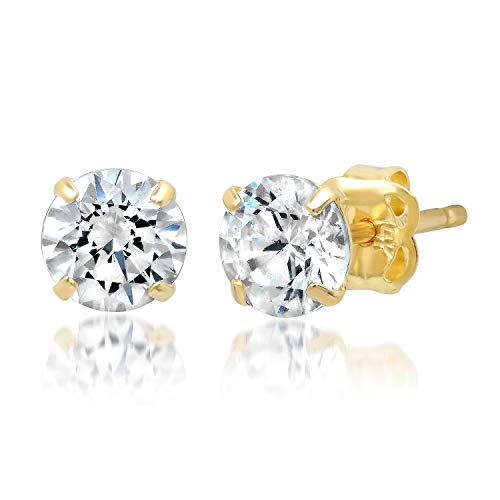 14k Solid Yellow Gold ROUND Stud Earrings with Genuine Swarovski Zirconia | 1.0 CT.TW. | With Gift Box