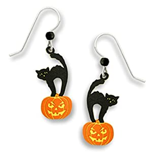 Halloween Black Scared Kitty Cat Standing on a Pumpkin Earrings by Sienna Sky