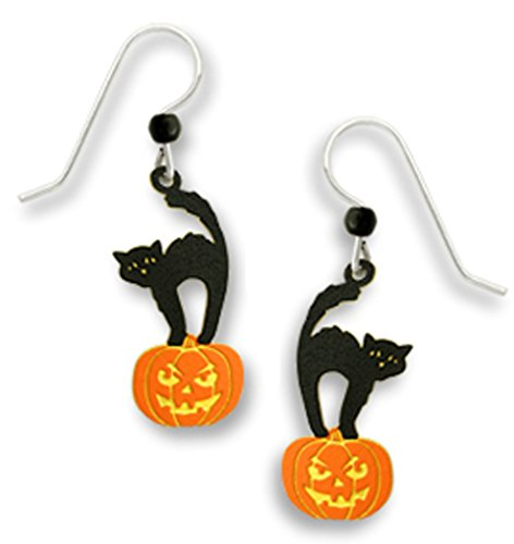 Halloween Black Scared Kitty Cat Standing on a Pumpkin Earrings by Sienna Sky ()