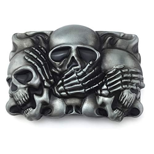 XGALA Cool Fashion Skull Belt Buckle For Mens Grey Tone