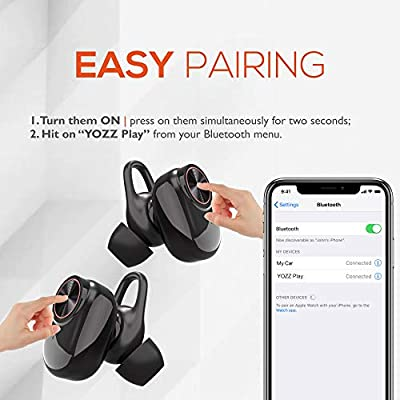 Wireless Earbuds by YOZZ Play | Bluetooth v4.2+EDR Cordless Headphones with Secure Fit in Ear & Portable Charging Case | True 3D Stereo Bass Sound & Noise Cancelling Earphones | Waterproof Headset