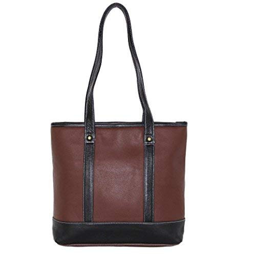 Concealed Carry Gun Purse - Doubled Handles Leather Tote by Roma Leathers (Brown)