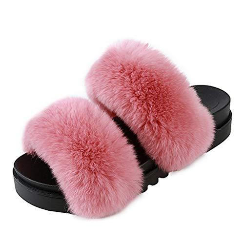 Invernali Lovely Furry Casa Donna Estate Da Estive Infradito Piatte Scarpe Pantofole Bagno Flufy Pelliccia Rosa xIO5w