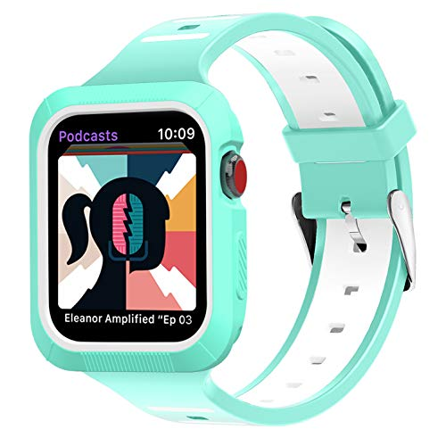 (BRG Compatible with Apple Watch Band 38mm 40mm 42mm 44mm with Case, Silicone Sport Band with Shock-Proof Protective Case Replacement for iWatch Series)
