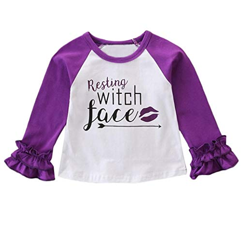 iumei Newborn Baby Little Girls Halloween Costume Resting Witch Face Fab Boo Tops Ruched Long Sleeve T-Shirts (6-12 Month, -