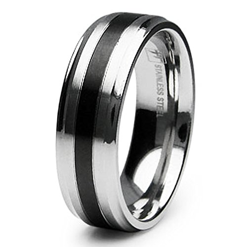 7 MM Stainless Steel Black PVD Center Strip Wedding Band Ring, Size 9