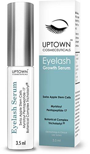 Cils sérum de croissance pour les longs cils de cosméceutiques Uptown contient des cellules souches & Myristoyl Pentapeptide-17, dermatologue laboratoire testé, meilleur Lash & sourcil croissance produit, approvisionnement de 4 mois, 3,5 ml