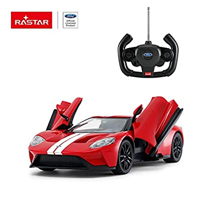 Amazon Com Rastar Radio Remote Control   Scale Ford Gt Licensed Rc Model Car W Open Doors Red Toys Games