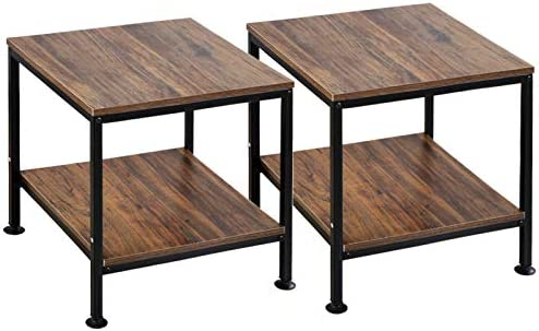 KirKical 20 Inch 2 Tiers Square End Table