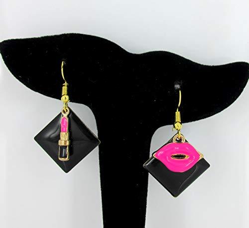 Gold-tone Black Enamel Lipstick and Lip Charm Dangle Earrings