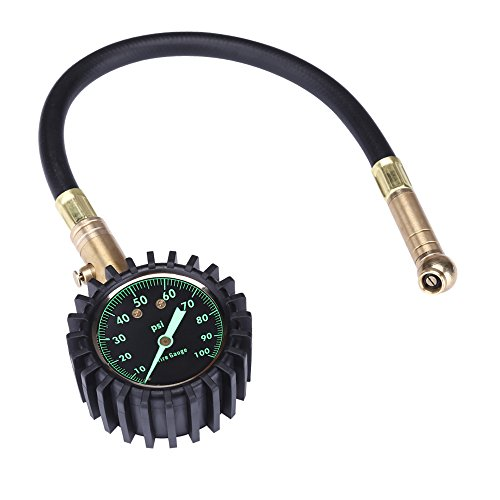 100PSI Tire Pressure Gauge, Heavy Duty Easy Read Glow Dial For Any Car, Truck, Motorcycle, RV by Jansite