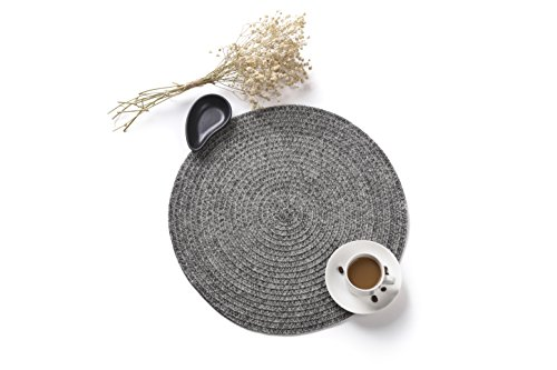 HYSENM Table Mats Set of 4 Handmade Braided Weave Round Vinyl Dinner Placemats, gray