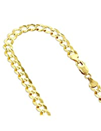 14k White or Yellow Gold Italy Cuban Curb Solid Chain Necklace 4.5mm Wide with Lobster Clasp