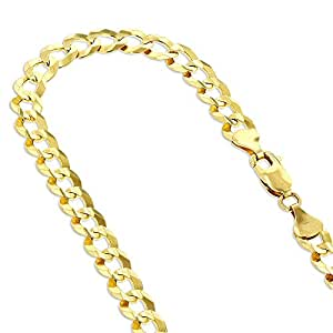 "IcedTime Solid 10K Yellow Gold Italy Cuban Curb Link Chain Necklace 7mm Wide 30"" long with Lobster Clasp"