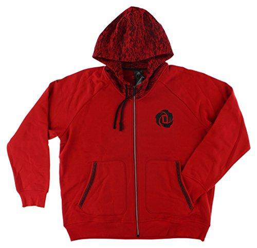 adidas Mens Derrick Rose Zip Hoodie Red M