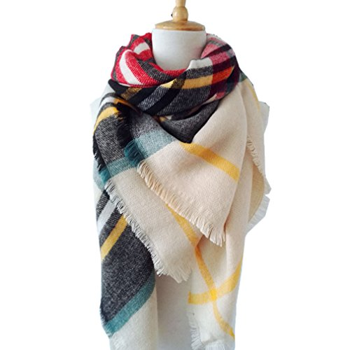 Large Soft Plaid Scarf Women Winter Knit Blanket Scarf Cashmere Feel Shawl and Wraps (Soft Knit Scarf)
