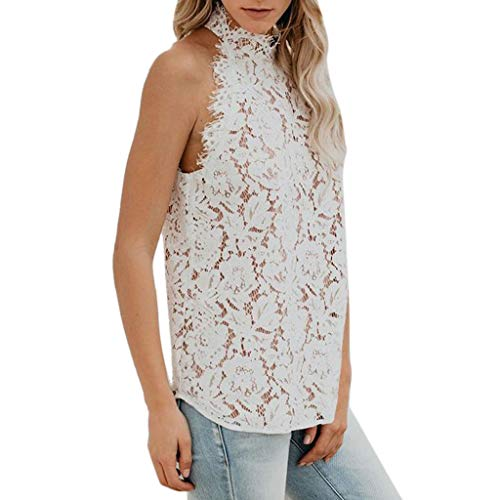 (Women's Camisole Sexy Ladies Summer Vest Sleeveless Lace Patchwork Casual Tank Tops T-Shirt Blouse Teen Girls White )