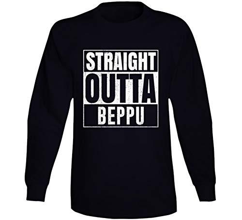 (Straight Outta Beppu Japan City Grunge Parody Cool Long Sleeve T Shirt 2XL Black)