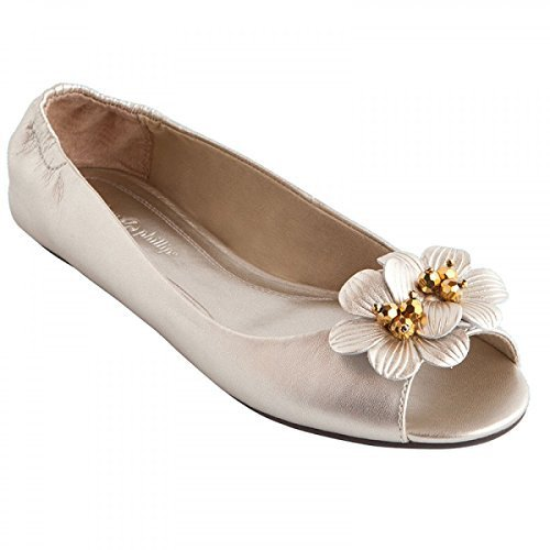 Lindsay Phillips Womens Kate White Gold Peep Toe Flat Size 6.5 by Lindsay Phillips