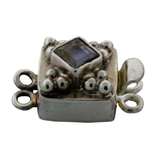 Sterling Silver Assorted Gemstone Jewelry Clasp. (Moonstone) (Moonstone Silver Brooch)