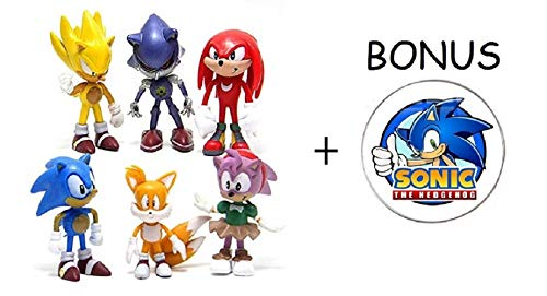 Sonic the Hedgehog Action Figures – 6-Pack Collectible Figures with Sonic Brooch- Highly Detailed Design – For Kids and Collectors- Includes Sonic, Tails, Knuckles, Metal Sonic, Amy Rose & Super Sonic