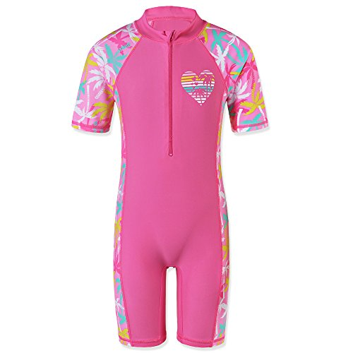 TFJH Girls Long Sleeve Swimsuit UPF 50+ Rashguard 5-6 Years Pink S259