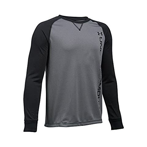 Under Armour Boys' Waffle Crew, Graphite/Black, Youth X-Large