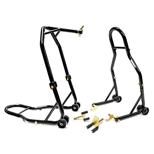 Venom Motorcycle Front Triple Tree & Rear Swingarm Spool Lift Combo Wheel Lift Stands + Paddock Attachments For Yamaha, Honda, Kawasaki, Suzuki, Ducati, BMW - Sport Street Bike -