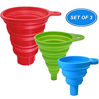 Kitchen Funnel Set of 3, Silicone Collapsible Funnels for filling bottles, Oil, Food, Canning Funnel (Large, Medium, Small)