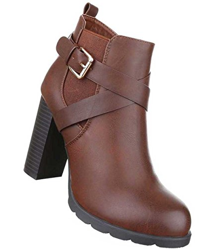 Damen Stiefeletten Schuhe Stretch Boots Hellbraun 39 BH5z01T