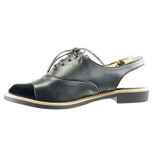Angkorly - Chaussure Mode Richelieu Sandale ouverte femme boucle finition surpiqûres coutures Talon bloc 2 CM - Noir