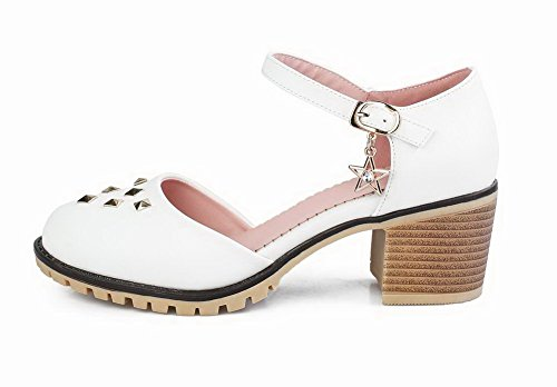 Heels Solid Toe 42 Closed Kitten WeenFashion Sandals Women's White Pu Buckle wpt4xC