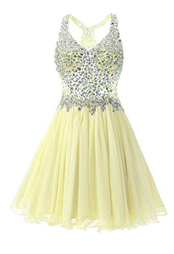 Metal Sexy Stunning Dress Crystal Mini Short LIYIZO Sequin Gown Yellow Sparkly Party Cocktail Club qCRYIYxwg
