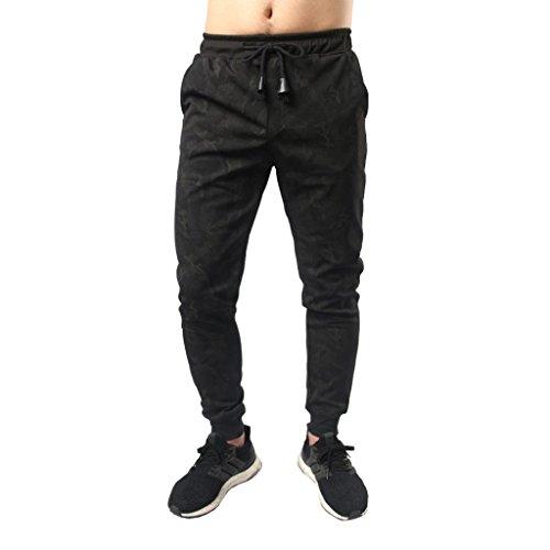 Forthery Mens Jogger Pants, Sports Slim Fit Casual Active Elastic Sweatpants (M, Black)