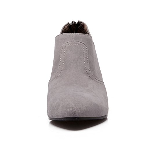 BalaMasa Ladies Heighten Inside Pointed-Toe Zipper Suede Pumps-Shoes Gray lUysyeA