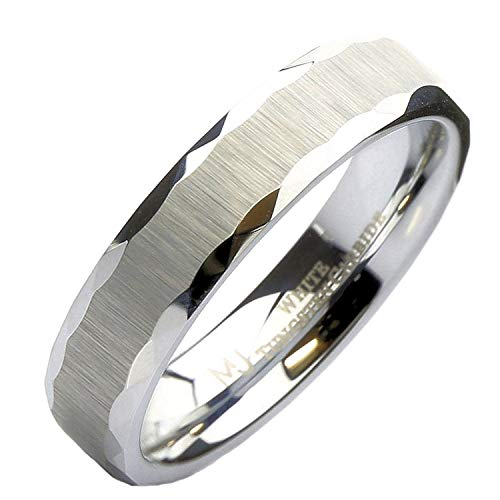 - MJ Metals Jewelry White Tungsten Carbide Brushed Sideways Finish Grooved Edges Wedding Band 5mm Ring Size 9
