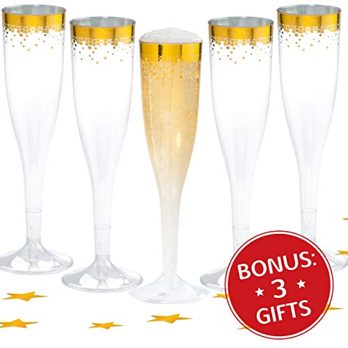 Champagne Flutes Disposable Gold - 50 Count Clear