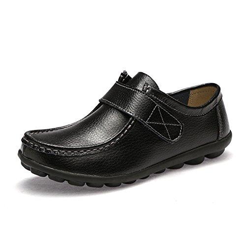 T-july Zapatos De Suela De Goma Confort Para Mujer Zapatos Ligeros Y Respirables Zapatos Planos De Penny Loafers Negro