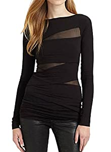 Tulucky Women's Bandage Tops Long Sleeve Mesh Patchwork Nightclub Shirts