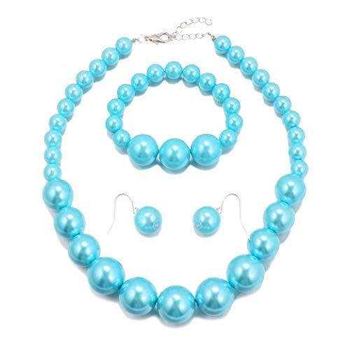 MJULY Women Big Faux Pearl Necklace Bracelet and Earrings Set Large Pearl Jewelry (Blue)