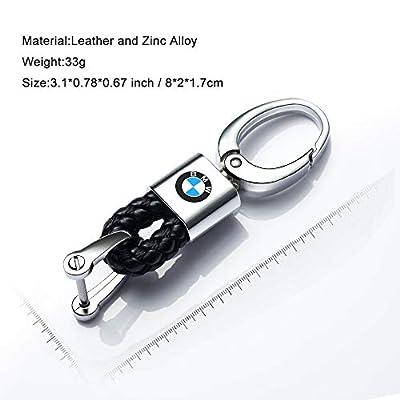 Hey Kaulor 2Pack Genuine Leather Car Logo Keychain for BMW Key Chain Accessories Keyring with Logo: Automotive