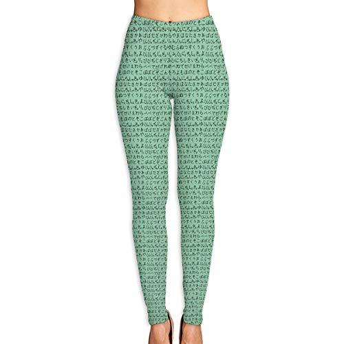 WJM SHOW Women's Japanese Hiragana Jade Black Leggings Yoga Long Pants Casual Sweatpants Athletic Gym Pants (Jade Mat Pink Yoga)