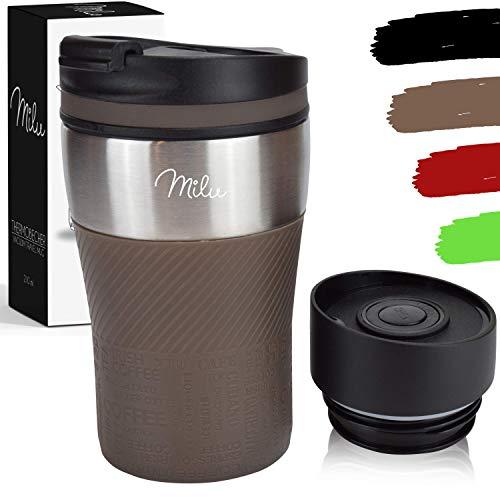 Milu Termo Taza 210ml - Vaso Termico de Viaje - Cafe para Llevar - Taza de Viaje - Taza de acero inoxidable para beber - con aislamiento de doble pared (Marron, 210ml)