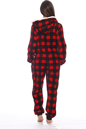 Just Love Adult Onesie/Pajamas,Medium,Red Buffalo Plaid ...