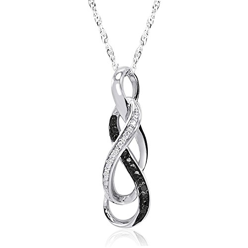 Black Lab Charm - Infinity Pendant Necklace w/ Black & White [Sterling Series] Swarovski-Quality Crystals [Lab - Cubic Zirconia (CZ)] - Best Seller Christmas Gift