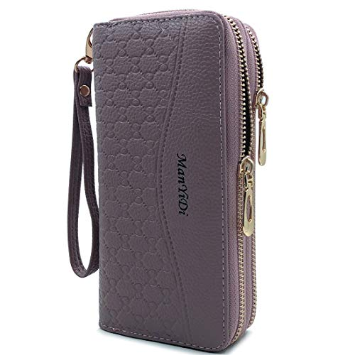 Wallet-NEWANIMA Women Multi-card Two Fold Long Zipper Clutch Purse (Style6-Purple) ()
