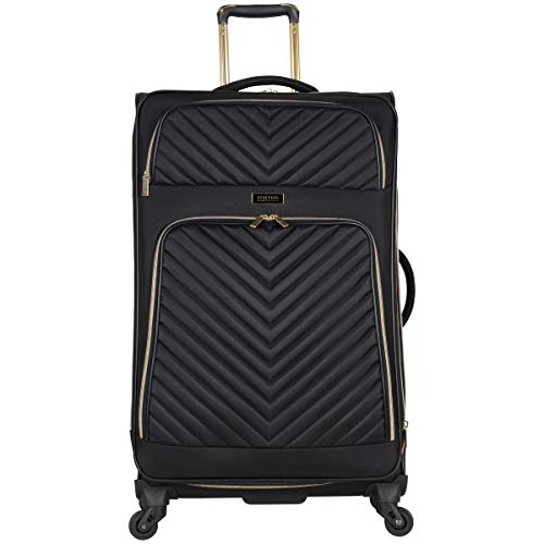Kenneth Cole Reaction Women's Chelsea 28″ Softside Chevron Quilted Expandable 4-Wheel Spinner Checked Suitcase, Black